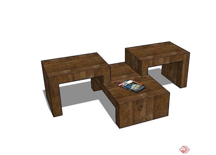 现代风格室内全木质坐凳设计su模型(1)