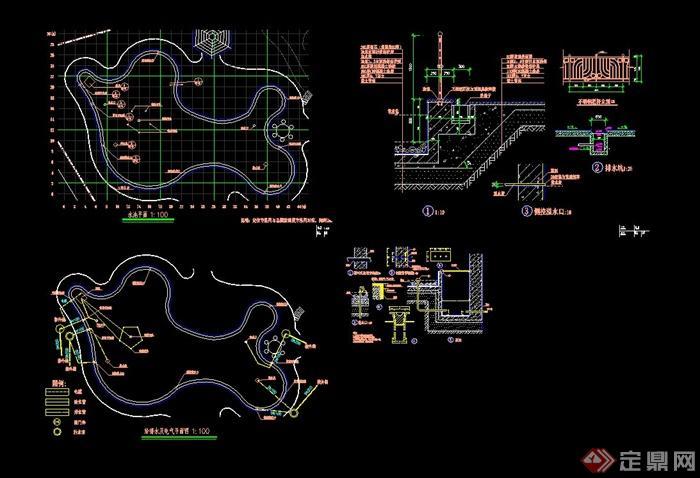 某现代风格详细水池设计cad施工图