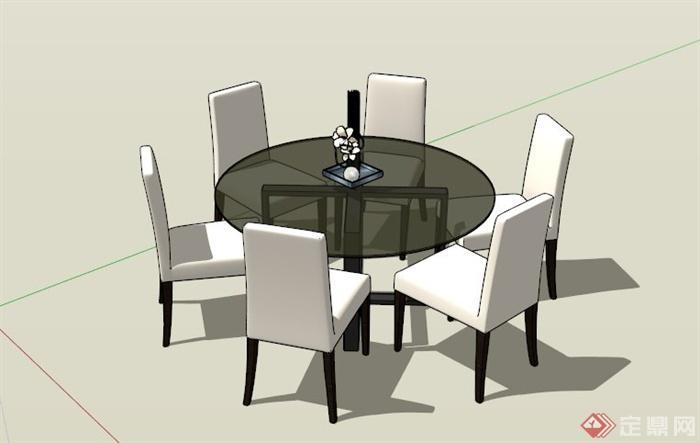 现代圆形餐桌椅组合su模型[原创]