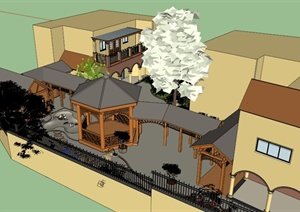 两个庭院花园景观方案SU(草图大师)模型