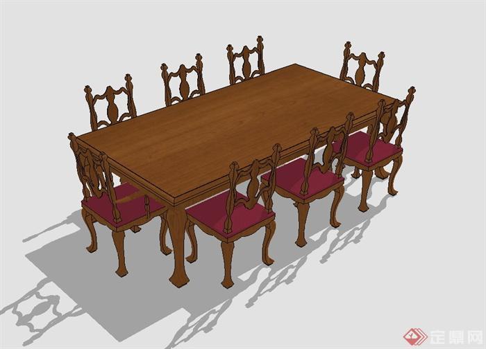 某欧式风格室内餐厅精美餐桌椅组合设计SU模型,该模型可直接用于室内装饰餐饮空间设计使用,有需要请自行下载使用。