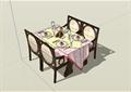 某现代中式风格室内精美餐桌椅设计SU模型