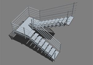 某现代建筑构件楼梯设计SU(草图大师)模型
