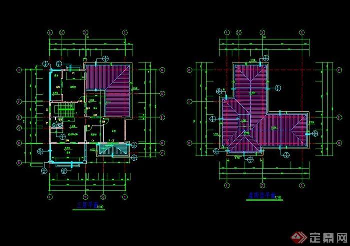 某欧式风格自建独栋别墅住宅楼设计cad施工图