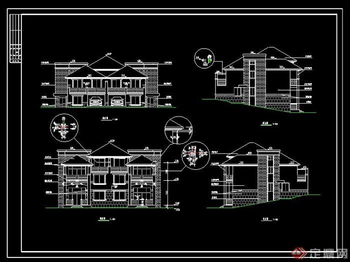 某欧式山体自建别墅设计cad全套施工图