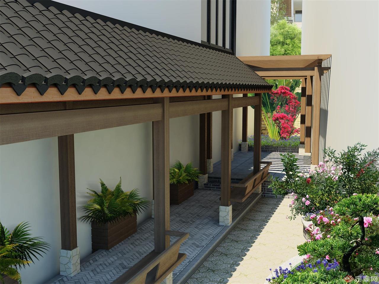 中式(简)私家花园庭院 一个简中式私家花园设计,花园不大,大概20多平方。业主要求中式设计,但又不想太复杂,就简化了一下,加入了一些元素,主要是连廊、中式铺装和盖瓦、仿滴水花筒等,然后用比价现在的结构做法,舍弃了传统中式建筑复杂的梁、脊等木架结构,结合硬山式木架结构,在保证整体稳定性的同时,尽可能的做了简化;在木料方面,考虑到室外的耐腐蚀性,本想以柚木为主,但业主觉得价格不合适,便改用了俄罗斯樟子松防腐木,面试做亚光水性木器漆;铺装用的式仿古的青砖和条砖,在南方的市面上有,但是比较难找。