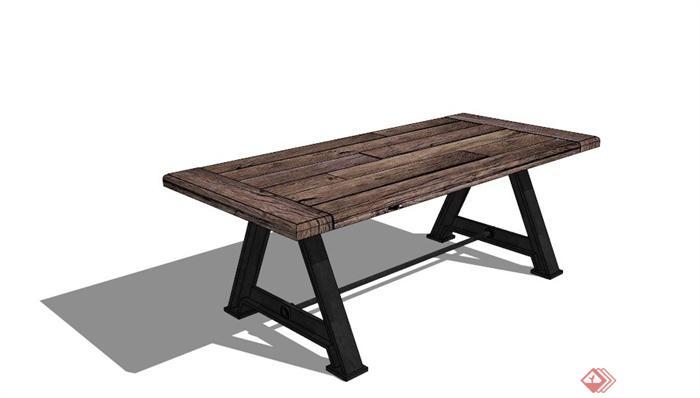 现代防腐木桌子设计su模型[原创]