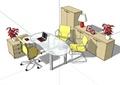某现代精致室内办公桌椅设计su模型