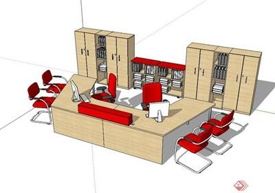 某现代室内精致完整的办公桌椅设计su模型