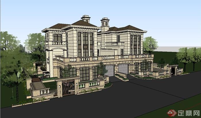 某欧式风格精致双拼别墅建筑设计su模型[原创]
