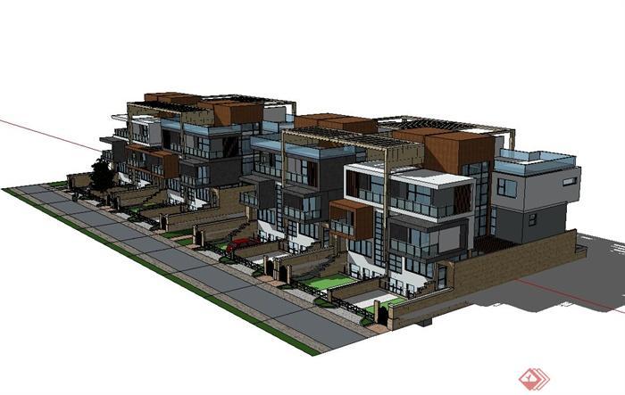 现代风格联排别墅住宅楼建筑设计su模型,模型制作完整详细,有材质贴图,材质贴图精致,可直接用于相关住宅小区楼设计使用,有需要请自行下载使用。