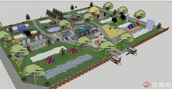 某小型休闲公园景观设计规划su模型(2)