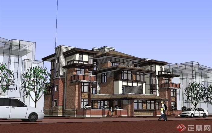 美式风格双拼别墅建筑设计su模型(2)图片