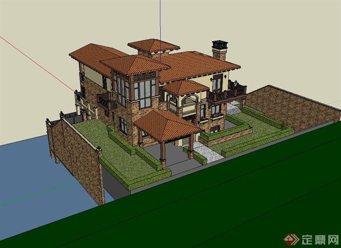 西班牙风格独栋别墅住宅楼设计su模型(3)