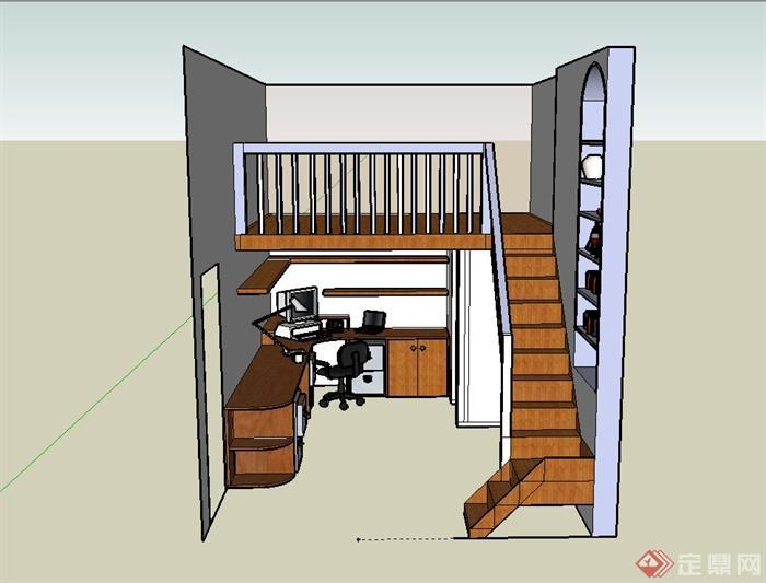 某现代两层办公室内装饰设计su模型[原创]