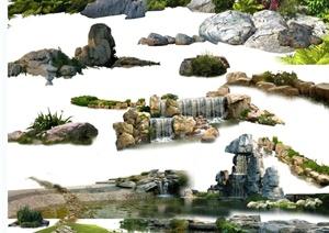 景石石头、驳岸、景石水景设计psd素材合集