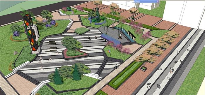 城市街角公园景观设计su模型