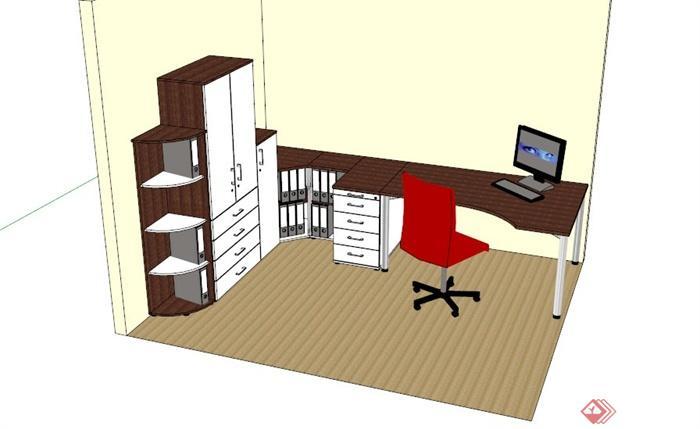现代木制办公室家具组合su模型[原创]