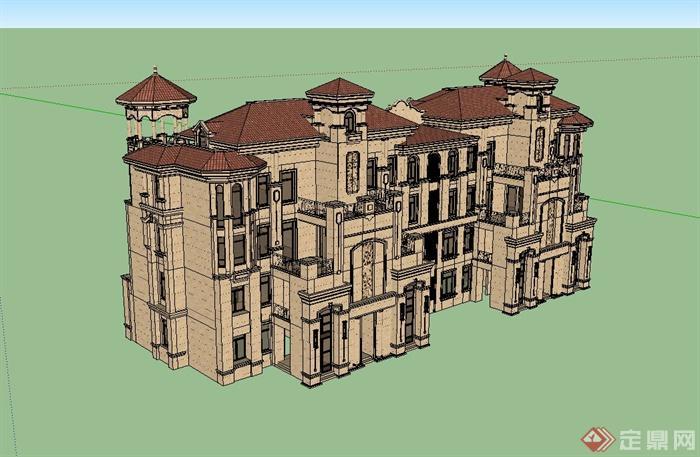 欧式风格洋房住宅楼建筑设计su模型[原创]