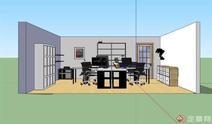 四人办公室家具组合设计su模型[原创]