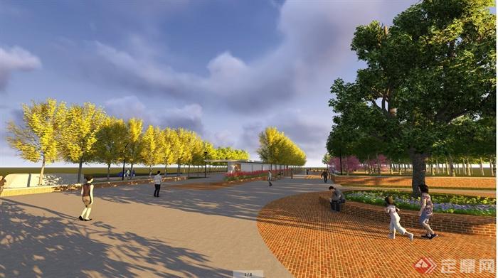 某农村休闲广场设计jpg效果图以及彩平图