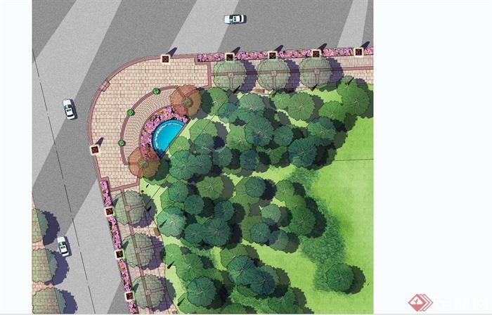 住宅小区入口设计PSD彩色平面图源文件