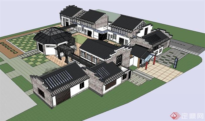 古典中式风格幼儿园建筑设计su模型[原创]