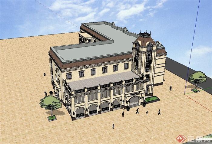欧式风格国际幼儿园建筑设计su模型(2)