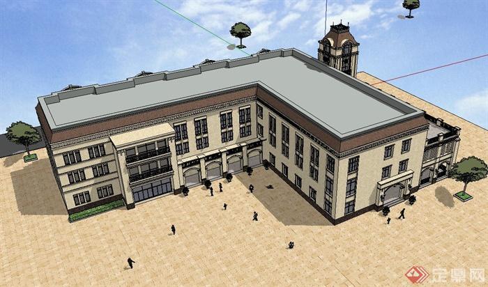 欧式风格国际幼儿园建筑设计su模型[原创]