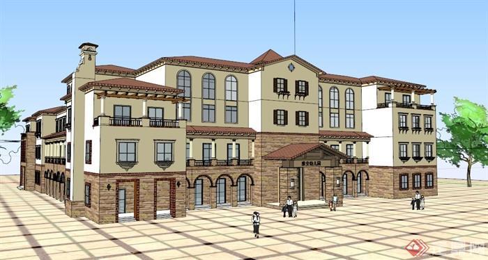 欧式幼儿园建筑设计SU模型素材,该设计风格为欧式设计风格,主材为石材,为多层建筑设计,模型制作美观详细,细节部分制作精致,有材质贴图,具有一定参考使用价值,欢迎下载使用。