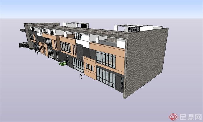 现代风格幼儿园教学楼建筑设计su模型[原创]