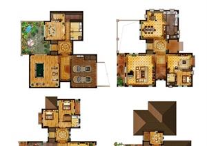 3款豪华版住宅户型图设计psd图
