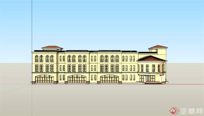 欧式三层幼儿园建筑设计su模型素材[原创]