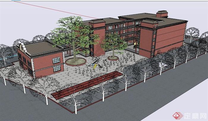 某欧式风格幼儿园教学建筑设计su模型(1)