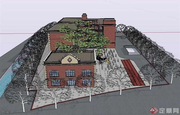 某欧式风格幼儿园教学建筑设计su模型[原创]