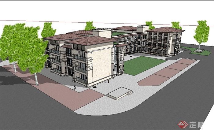 某新古典风格幼儿园建筑设计su模型(1)