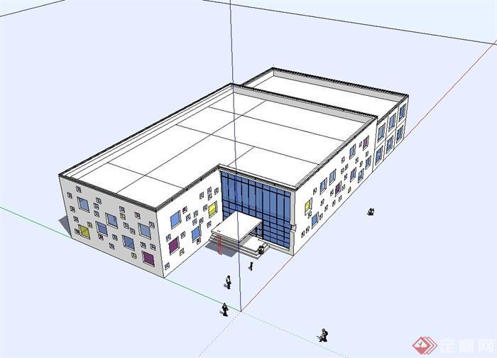 简单的幼儿园教学楼设计su模型[原创]