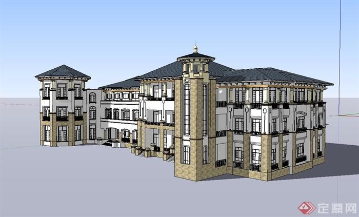 某欧式幼儿园教学楼设计su模型(1)
