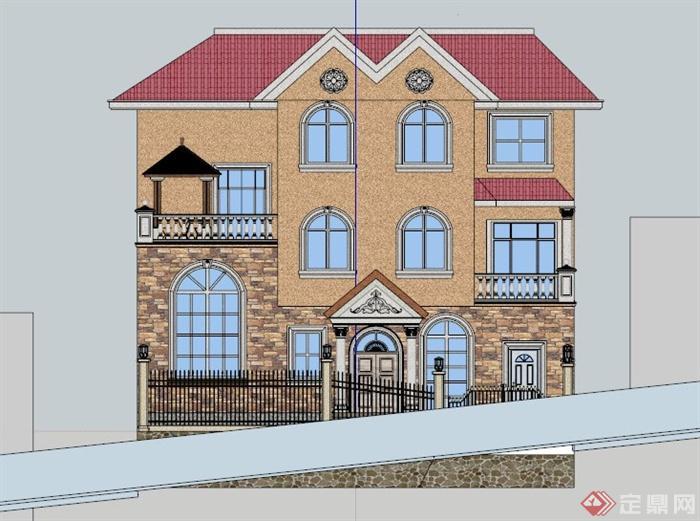 三层欧式自建别墅建筑设计su模型