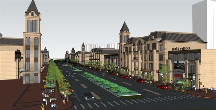 欧式商业街住宅建筑设计su模型