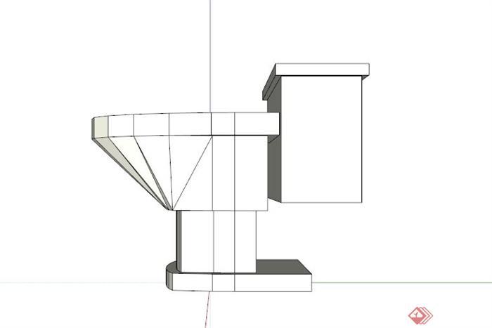 卫浴家具现代马桶设计su模型素材[原创]