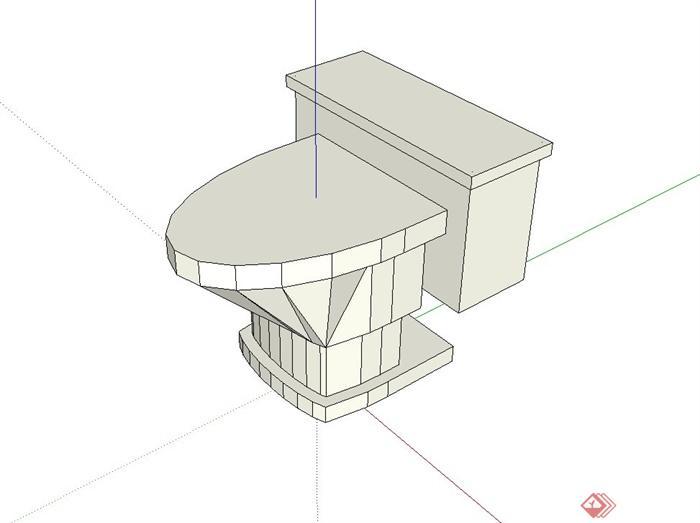 现代独特卫生间马桶设计su模型(2)