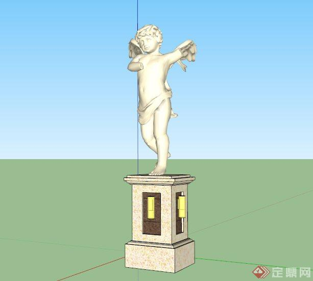 欧式天使小孩雕像设计SU模型,该设计风格为欧式设计风格,为有翅膀的天使小孩造型,主材为石膏和石材,模型制作美观详细,细节部分制作精致,有材质贴图,具有一定参考使用价值,欢迎下载使用。