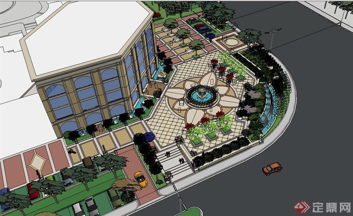 某欧式风格售楼处景观详细设计su模型(2)