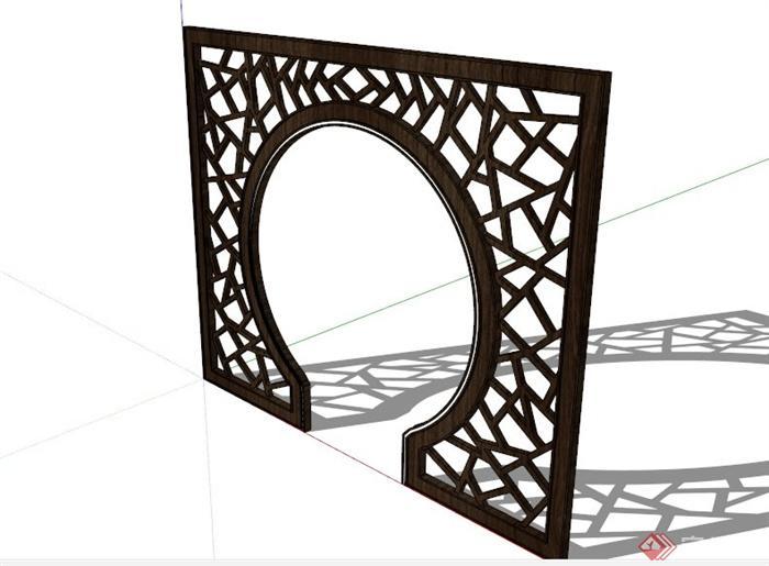 木制镂空隔断设计su模型(1)