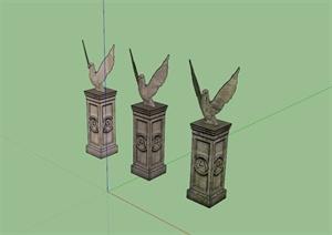 和平鸽雕塑设计DU模型