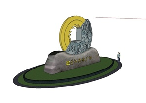 某现代风格金融广场雕塑小品设计SU(草图大师)模型