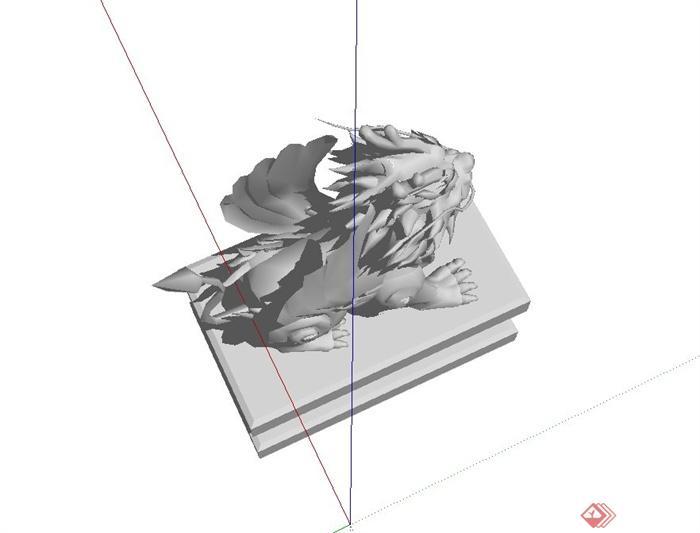 精致详细麒麟动物雕塑设计su模型(3)