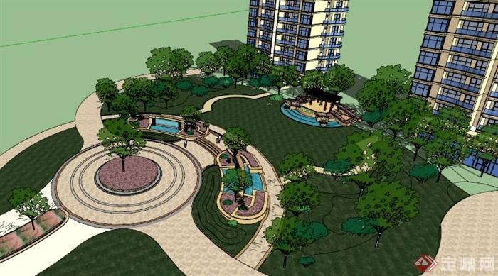 欧式住宅小区中心景观设计su模型[原创]