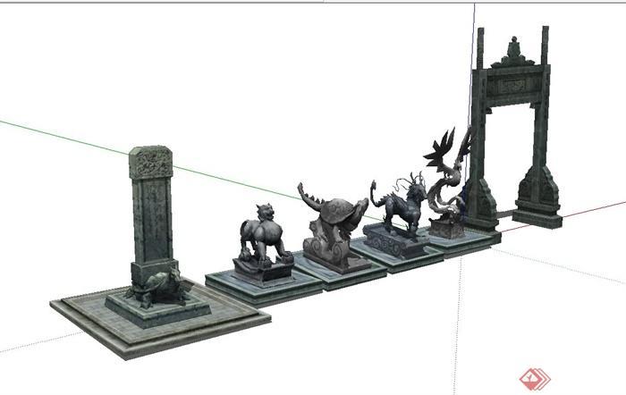 古典中式风格动物,牌坊门雕塑设计su模型(1)